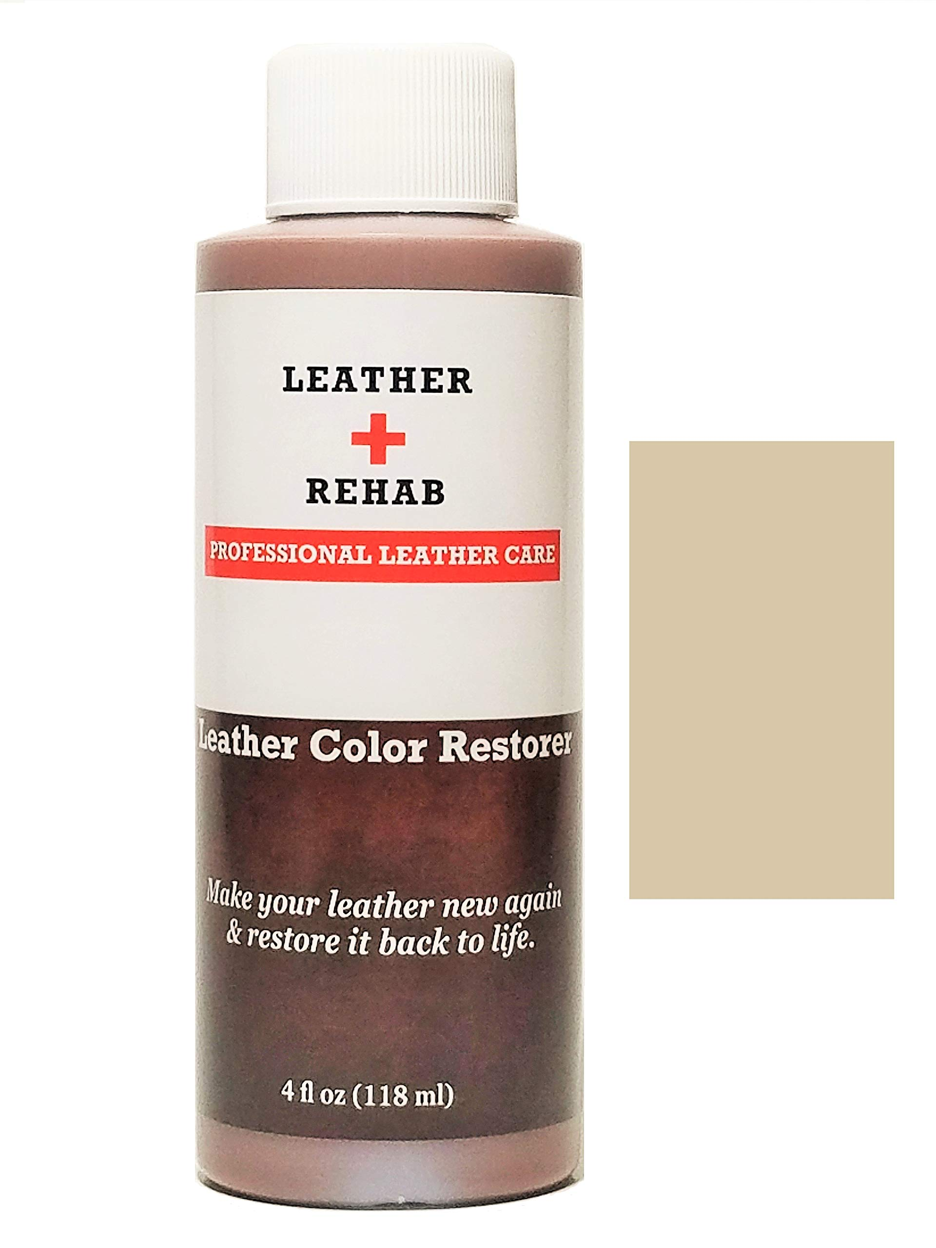 Leather Rehab Leather Color Restorer - Repair & Restore Faded, Worn and Scratched Leather & Vinyl Easily with No Kit - Furniture, Couch, Car Seat, Shoes, Jacket and Boots - 4 oz. Vellum Beige