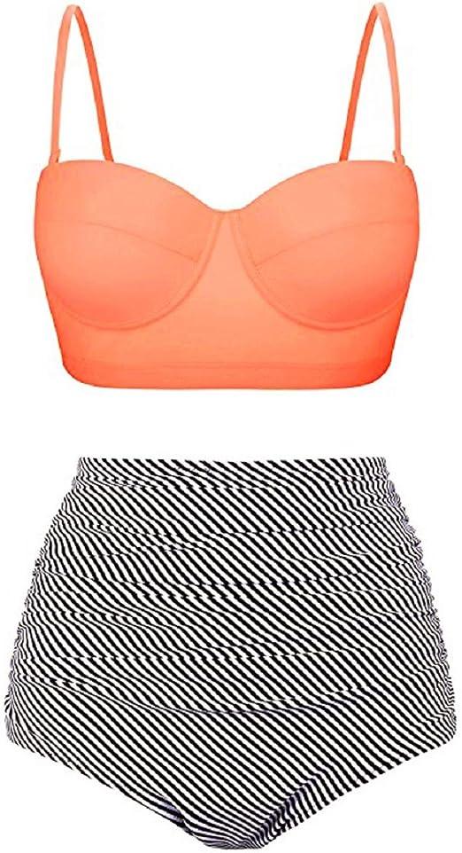 Lands End Bikini Swimwear Top Girls Kid Size 4 5 6 Bandeau Orange Green Swimsuit