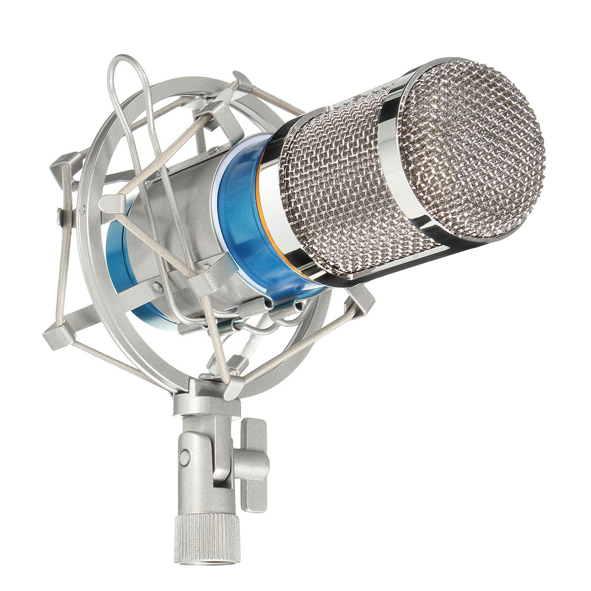 Condenser Microphone, M.Way Studio Broadcasting Vocal Recording Microphone KTV Mic with Shock Mount, Audio Cord, Foam Cap For Sounds Recording, Interview, Home, Stage, Music Insturments Blue M.WAYFirstmore1853