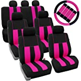 FH Group FH-FB036217 FH2033 Three Row Combo Set: Striking Striped Seat Covers with Premium Carpet Floor Mats Pink/Black Color- Fit Most Car