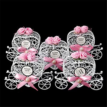 cuigu 5 unidades caja de bombones, forma de carroza de Cenicienta de cajas de dulces para cumpleaños Boda, color No.5 Einheitsgröße