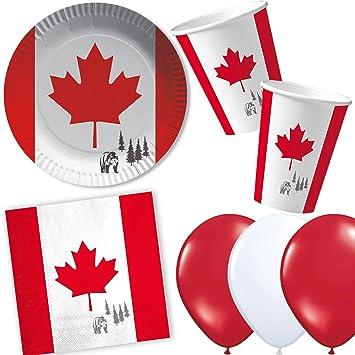 37 piezas Set de fiesta * Canadá * con platos vasos y servilletas de papel +