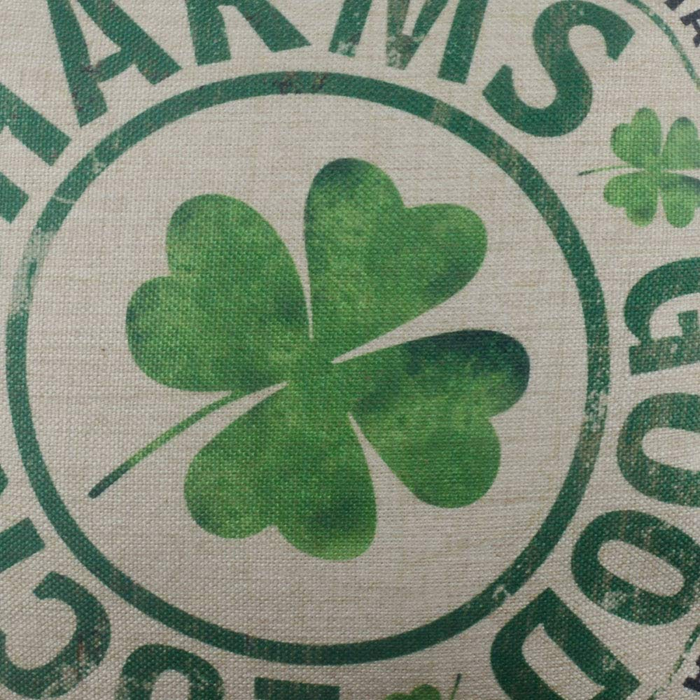 Retro Good Luck Charms CC1561 Patrick Day Seasonal Gifts Burlap Decorative Cushion Cover 18x18 inches LINKWELL Pillow Cover St