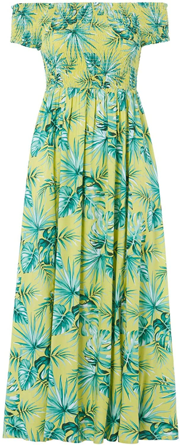Roman Originals Women Tropical Bardot Maxi Dress - Ladies Summer Holiday Beach Casual Everyday Comfort Relaxed Loose Fitting Elasticated Off Shoulder Floor Length Dress Lime