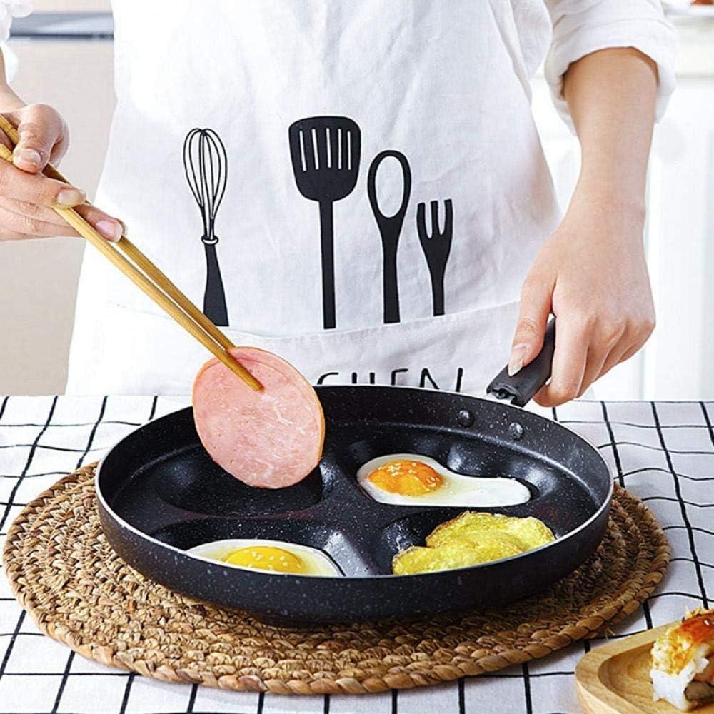 WSJ Poêle à Omelette à Quatre Trous antiadhésive sans poêle à l'huile pour Les œufs Poêle à crêpes au Jambon Poêle antiadhésive Barbecue Domestique Essentiel B A