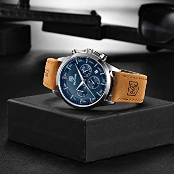 BENYAR Men Watch Quartz Chronograph Date 3ATM Waterproof Watches Business Sport Design Leather Strap Wrist Watch Perfect Gifts for Men Father