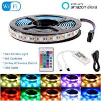 RGB LED Strip Light Smart WiFi IR Remote Control for Alexa Google, with WiFi Wireless Controller, USB Cable and 24 Key Remote - 2m