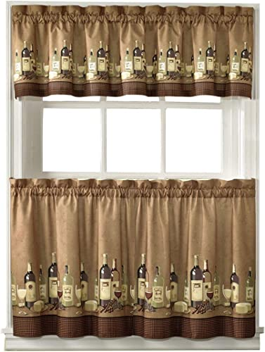 36-inch Length Wines Tailored Tier Curtain And Valance Set By Chf Industries
