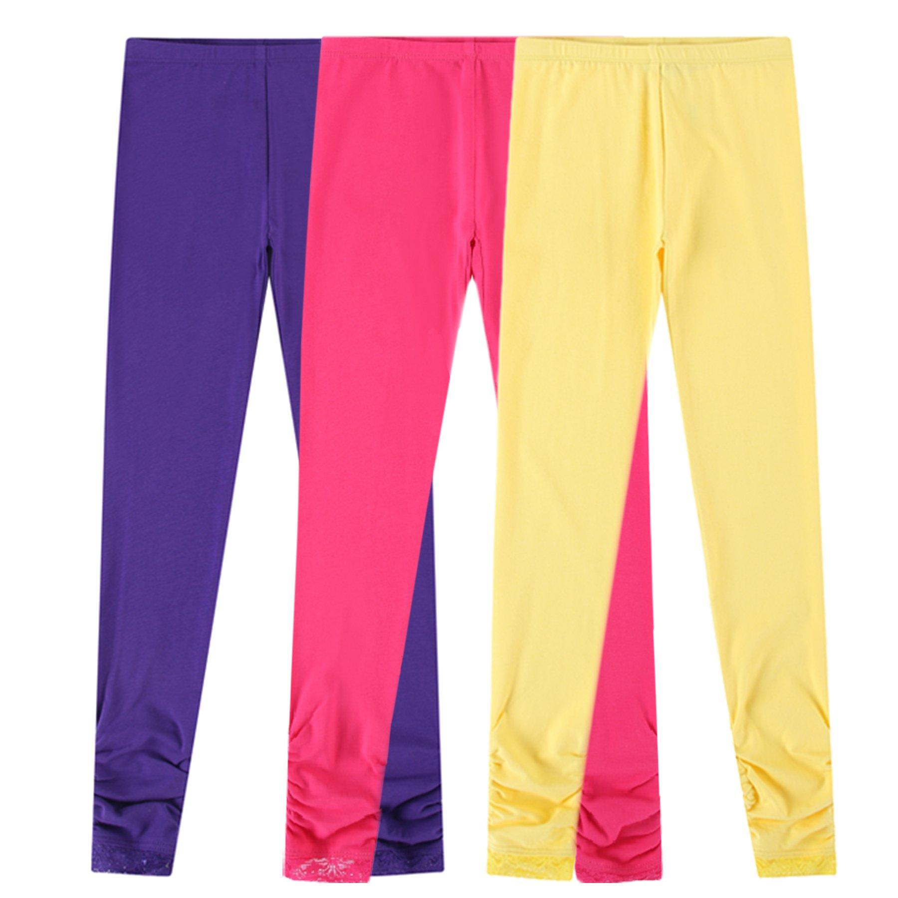Bienzoe Girl's Knit Cotton Stretch School Uniform Lace Antistatic Legging 3 Pack Lt Size 6 Rose/Purple/Yellow