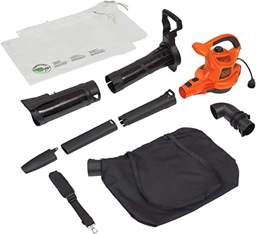BLACK DECKER 3-in-1 Electric Leaf Blower Mulcher with Leaf Vacuum Kit, 12-Amp BV6000