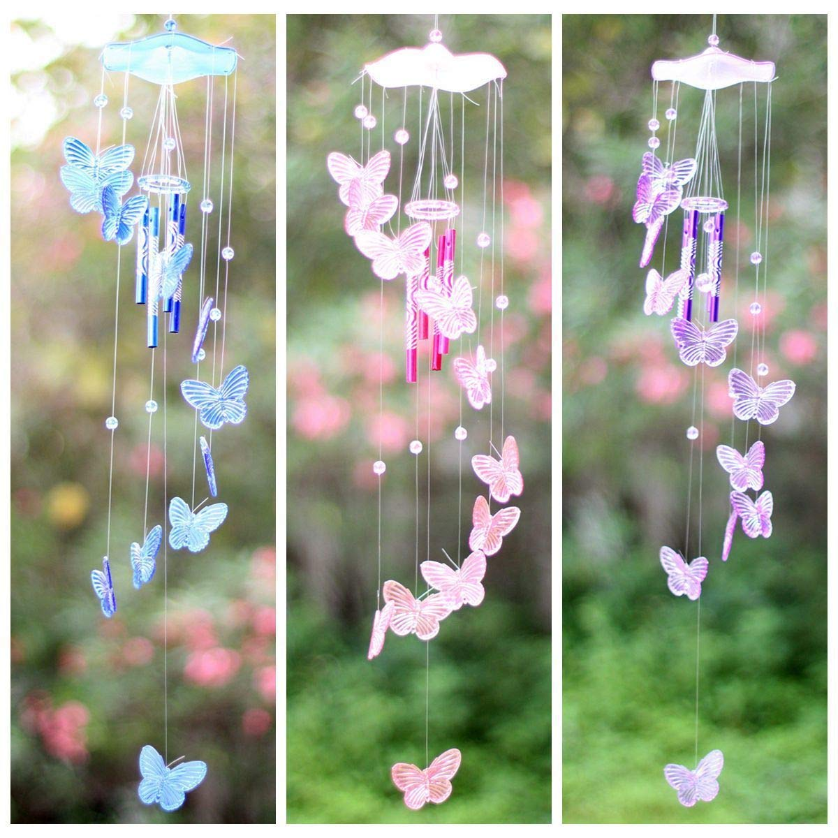Hanbaili Crystal Butterfly Wind Chime Bell Garden Ornament Gift Yard Hanging Decor