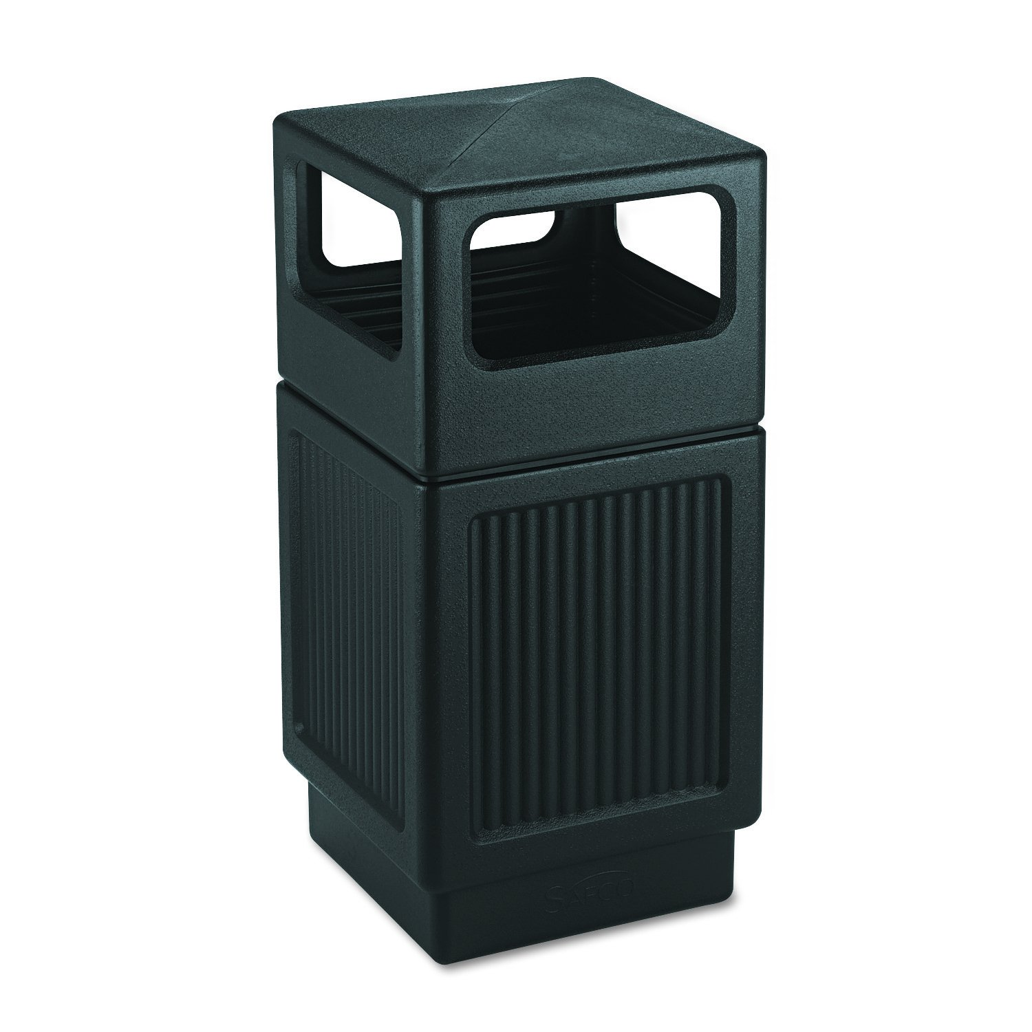 Safco Products Canmeleon Outdoor/Indoor Recessed Panel Trash Can 9476BL, Black, Decorative Fluted Panels, 38-Gallon Capacity by Safco Products