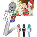 Verkstar Wireless Karaoke Microphone, Bluetooth Speaker Mic Best Birthday Gift Toy for Kids Adults with LED Lights and…