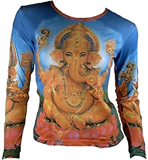 TICILA Mujer Camiseta de manga larga Azul Popular Hindu deity Dios God Lord Ganesh Ganesha Mantra