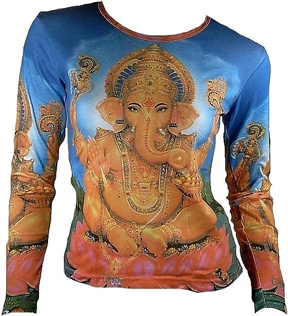 ticila Mujer Camiseta de manga larga Azul Popular Hindu deity Dios ...