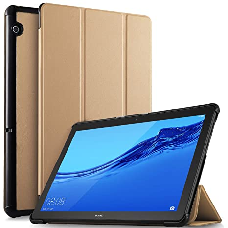 competitive price aac37 e8387 ELTD Case for Huawei MediaPad T5 10,Flip Premium Slim light Shell  Protective Case Cover for Huawei Mediapad T5 10 10.1 inch 2018 (Gold)