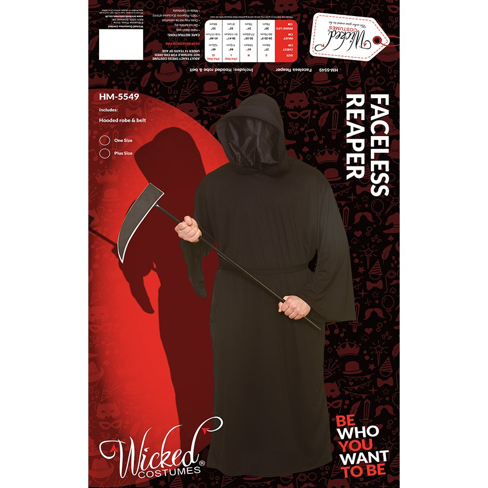 Adult Mens Black Faceless Reaper Halloween Fancy Dress Costume  Amazon.co.uk   Clothing 982c326ac