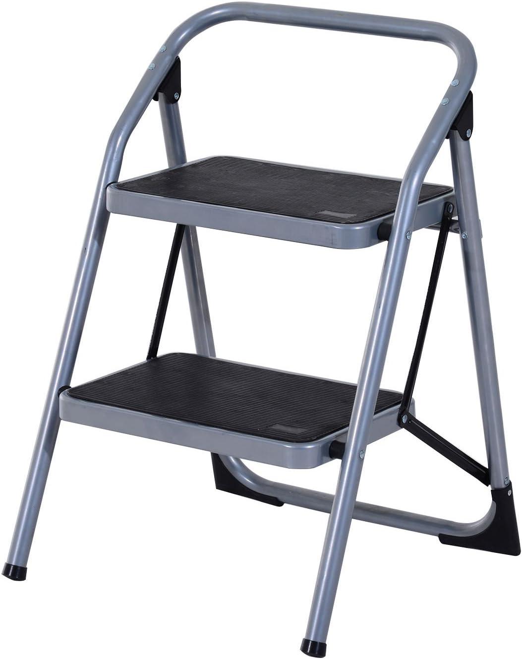 HOMCOM Escalera de Tijera 2 Peldaños, Escalera Plegable de Acero Taburete Escabel Base Antideslizante: Amazon.es: Bricolaje y herramientas