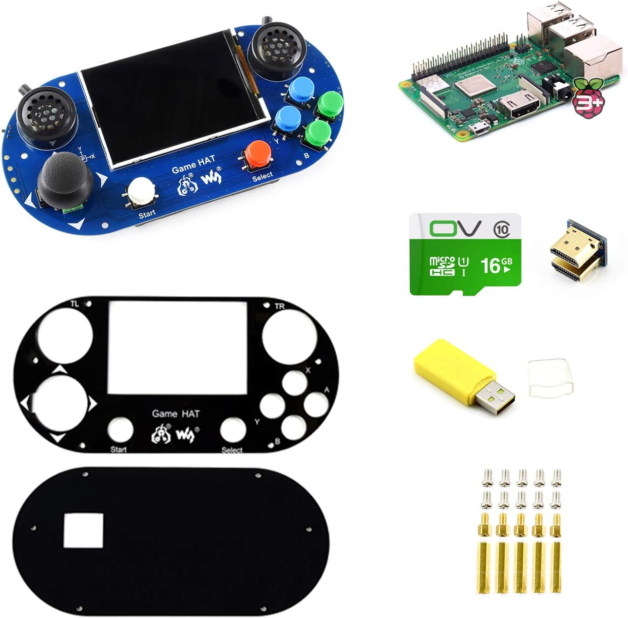 3.5 inch IPS Screen CQRobot Raspberry Pi 3 Model B+ Handheld Game Console Development Kit 480/×320 Resolution. with Micro SD Card Includes Game HAT for Raspberry Pi A+//B+//2B//3B//3B+