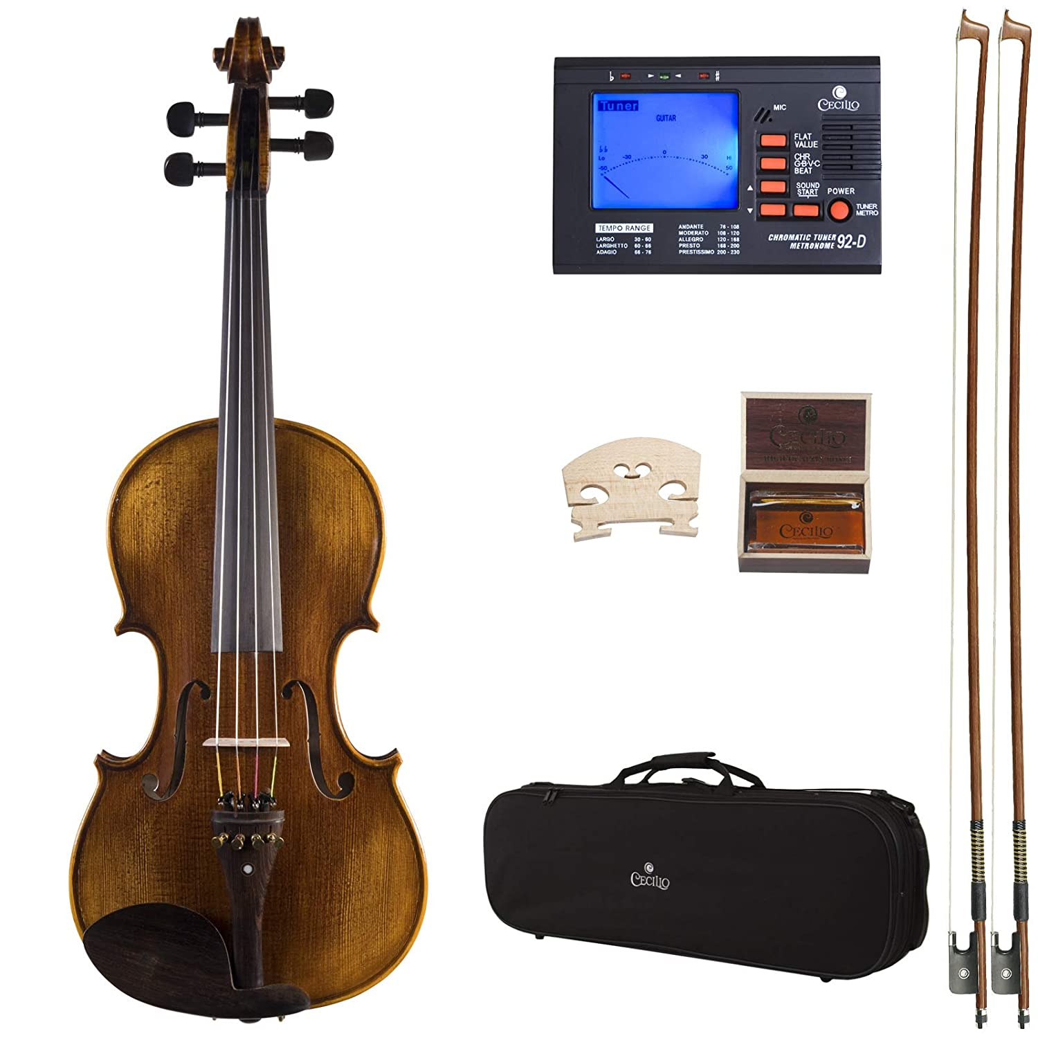 Cecilio 16.5 Inch Hand Oil Rubbed Highly Flamed 2-Piece Back Solidwood Viola with Tuner, CVA-600 Cecilio Musical Instruments 16.5