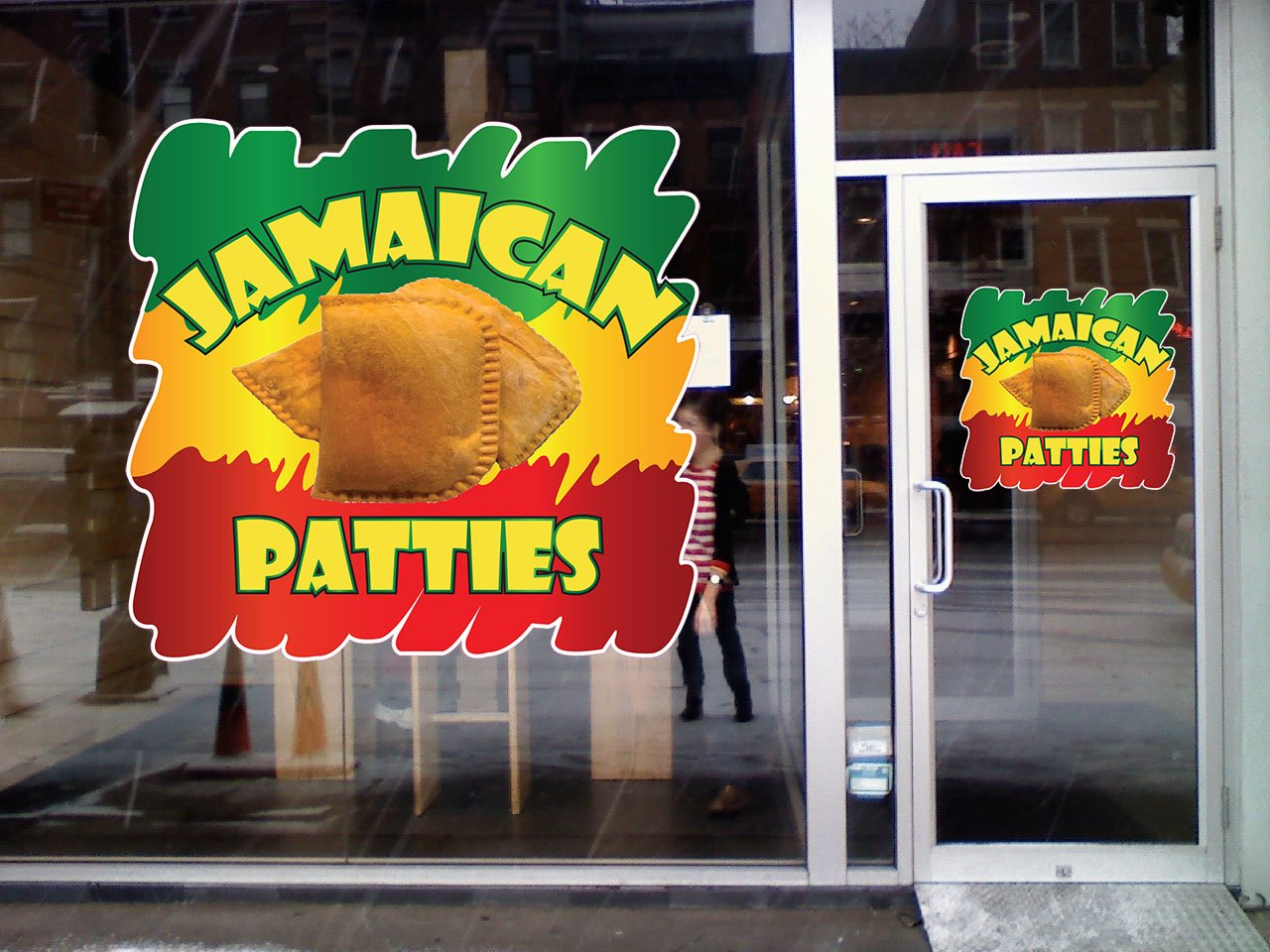 Amazon com jamaican patties concession restaurant die cut window static cling 10 inches outside glass office products