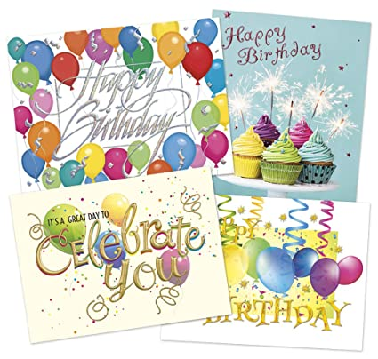 Amazon 50 Premium Birthday Cards 4 Classic Designs 52 Gold