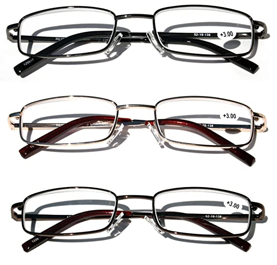 e36ed6d566ef Amazon.com  3 Pairs Slim Metal Rectangular Reading Glasses With Spring  Hinge Rectangle Reader (3 Assorted Pairs