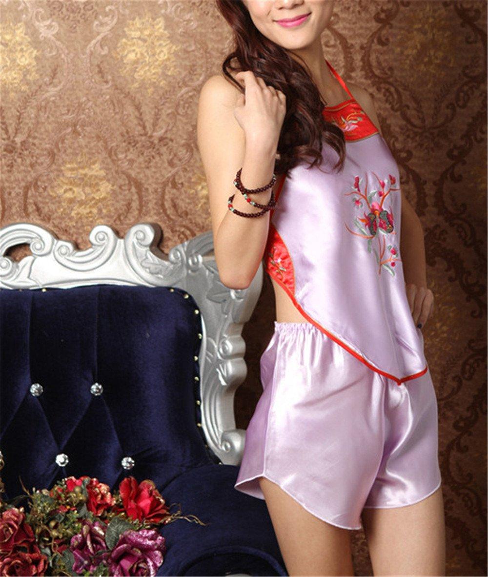 Abdomen national féminin dentelle soie brodée vent pyjama sous-vêtements (moyenne)