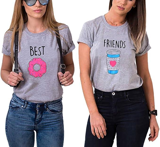 Siennaa Beste Freunde T-Shirts f/ür Zwei Junge M/ädchen Damen Best Friends Rose Gedruckt Sommer Shirt Sport Casual Tops Frauen Elegante Kurzarm Oberteil Bluse Hemd T-Shirt Pullover