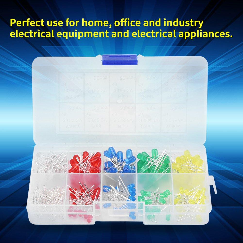 200pcs LED Diode Lights 3mm e 5mm LED Lights Emitting Diodes Set assortimento Kit Componenti elettronici Pacchetto di colori assortiti LED e resistori Rosso Giallo Bianco Verde Blu