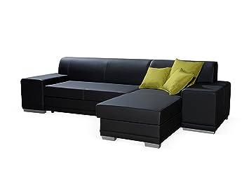Verani Twin Schwarz Faux Leder Gross Ecke Couch Mit Speicher