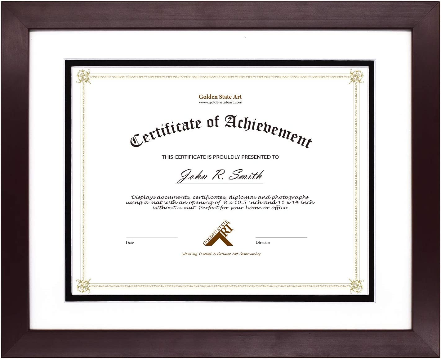 Golden State Art, Document/Photo Wood Frame for Document & Certificates, Real Glass (11x14 Frame for 8.5x11, Mahogany with White Over Black Double Mat)