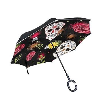 Mnsruu - Paraguas invertido de Doble Capa con Calavera y Flores, Paraguas Plegable y Resistente