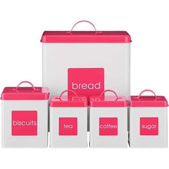 Hot Pink Enamel Kitchen Storage Set