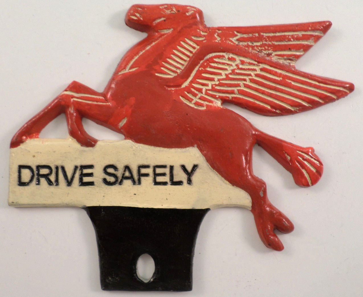 Mobil License Plate Frame Tag Topper Drive Safely Pegasus Red Flying Horse unknown