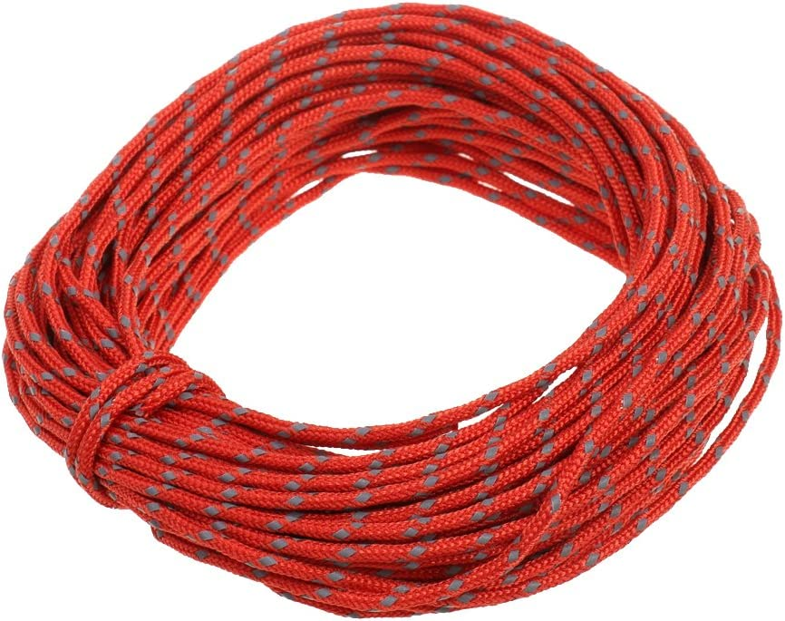MagiDeal 2.5mm 50ft Camping Tent Reflective Guyline Rope Awning Tarp Paracord Outdoor Camping Accessories
