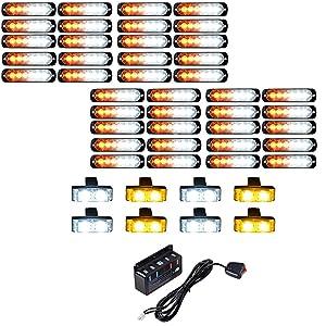 40X Ultra Bright 6-LED 18W Emergency Warning Construction Surface Mount Truck Trailer Strobe Light & 8X Car Truck Grille Deck Dash Flashing Light 2-LED - Amber White