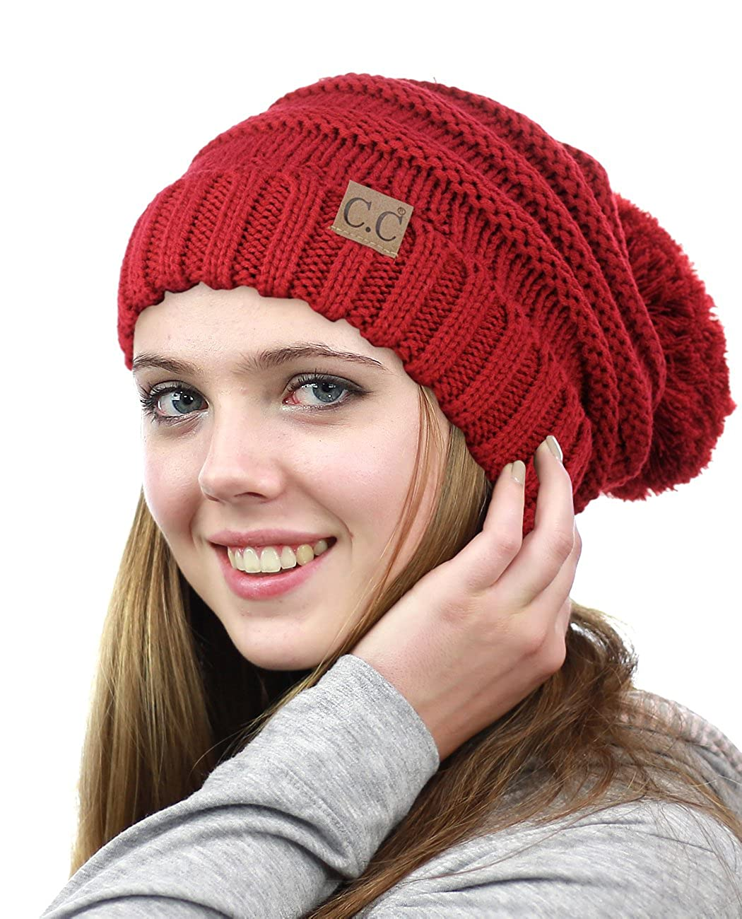 8ae4177b67532 C.C NYFASHION101 Pom Pom Oversized Baggy Slouchy Thick Winter Beanie Hat  HAT100POMPOM-BURG