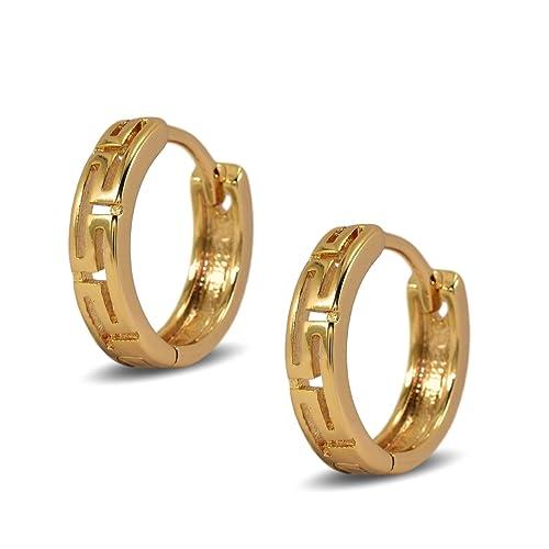 Blue Diamond Club - 18ct White Gold Filled Small Greek Key Geometric Pattern Hoop Earrings Womens or Girls 13mm Bj6JdrK9