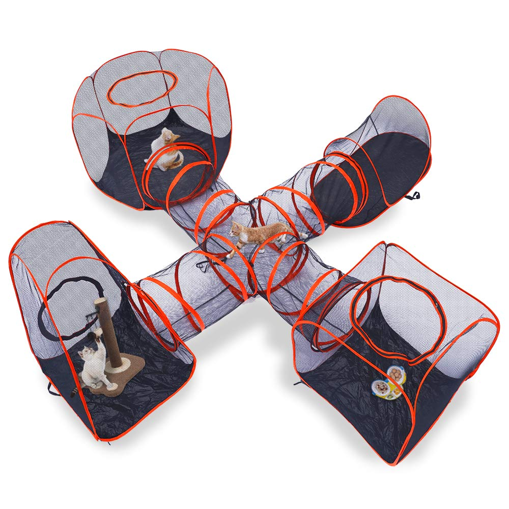 DAPU 5 in 1 Compound Pet Play House - 4 Tents (Square/Hexagon/Triangle/Oval Tent) & 1 Cross Tunnel,Pop Up Folding Enclosure Playpens,for Cat,Kitty,Dog,Puppy,Rabbit