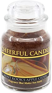 A Cheerful Giver - Aunt Kook's Apple Cider Scented Glass Jar Candle (6 oz) with Lid & True to Life Fragrance Made in USA