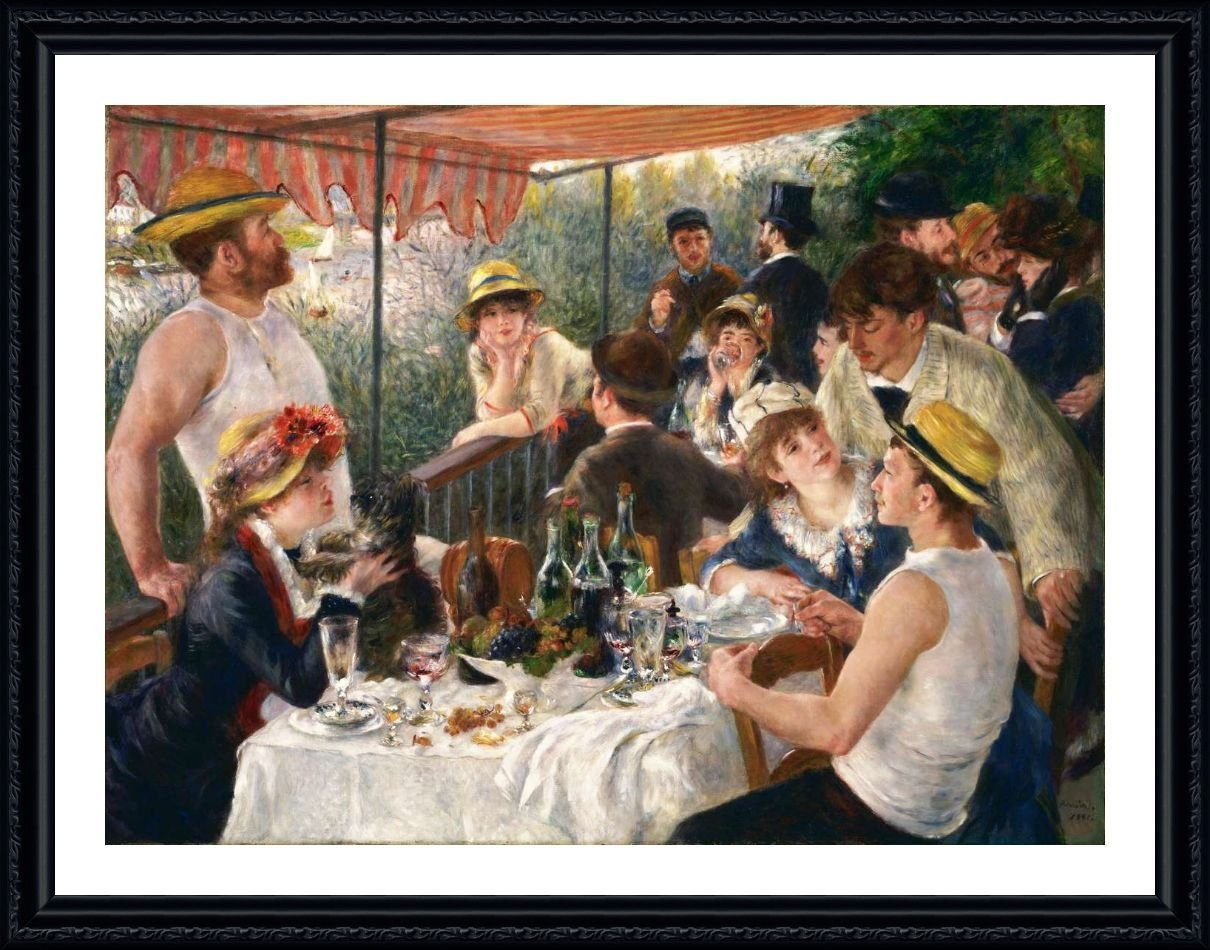 Luncheon Of The Boating Party by Auguste Renoir | Black framed picture printed on 100% cotton canvas, attached to the foam board | Ready to hang frame | 19x15 | by Alonline Art | Artwork Paint Alonline Art Studio