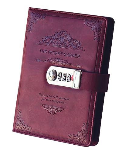 Vintage Tagebuch Reisetagebuch Retro Notizbuch 112 Seiten und  Schloß Code DE