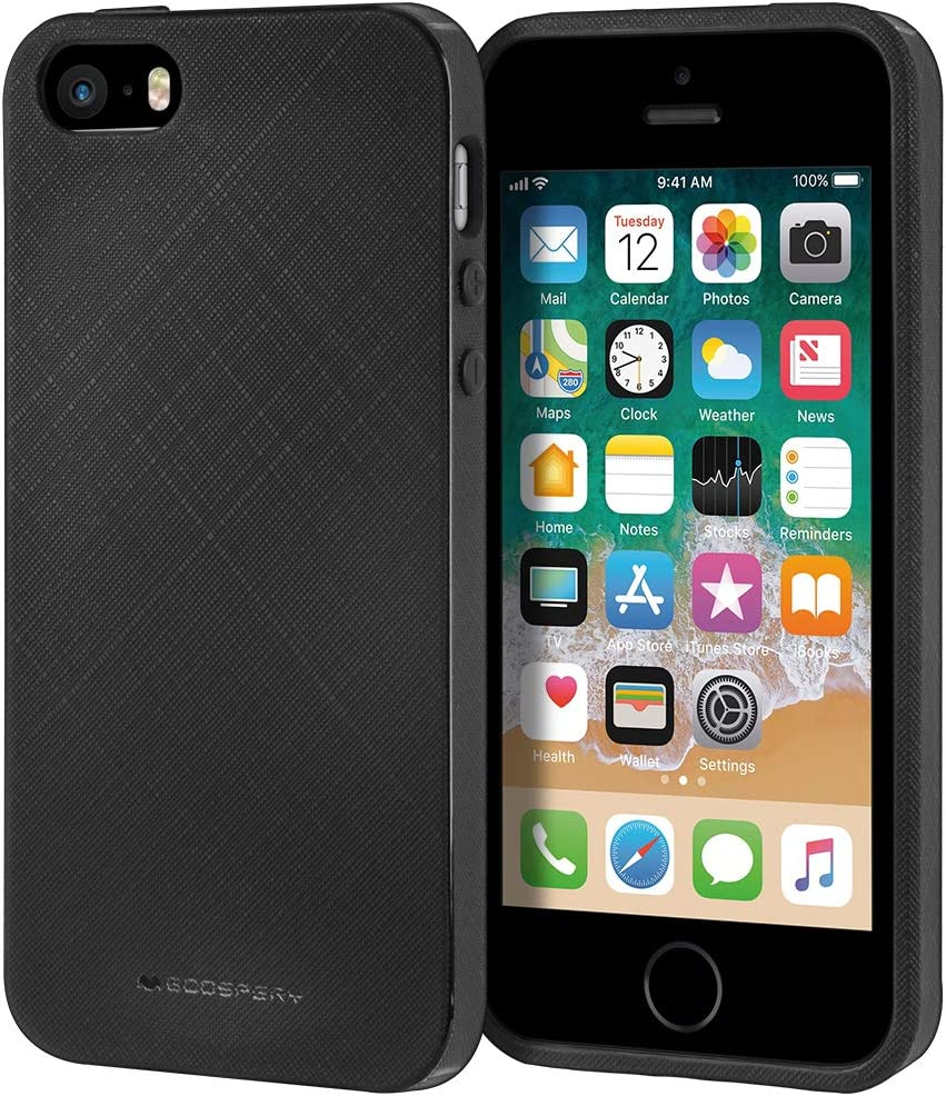 Goospery Style Lux Jelly for Apple iPhone SE Case (2016) iPhone 5S Case (2013) iPhone 5 Case (2012) Thin Slim Bumper Cover (Black) IP5-STYL-BLK
