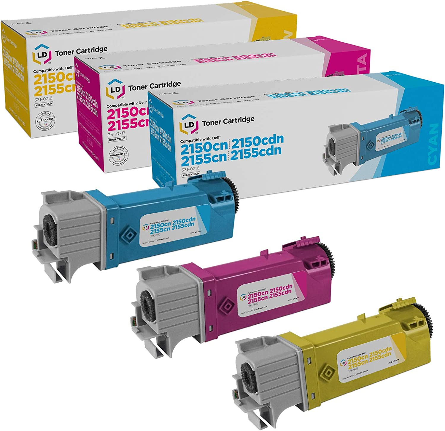 LD Compatible Dell 331-0716, 331-0717, 331-0718 Set of 3 Color Toner Cartridges: 1 Cyan, 1 Magenta and 1 Yellow for use in Dell 2150cdn, 2150cn, 2155cdn & 2155cn Printers
