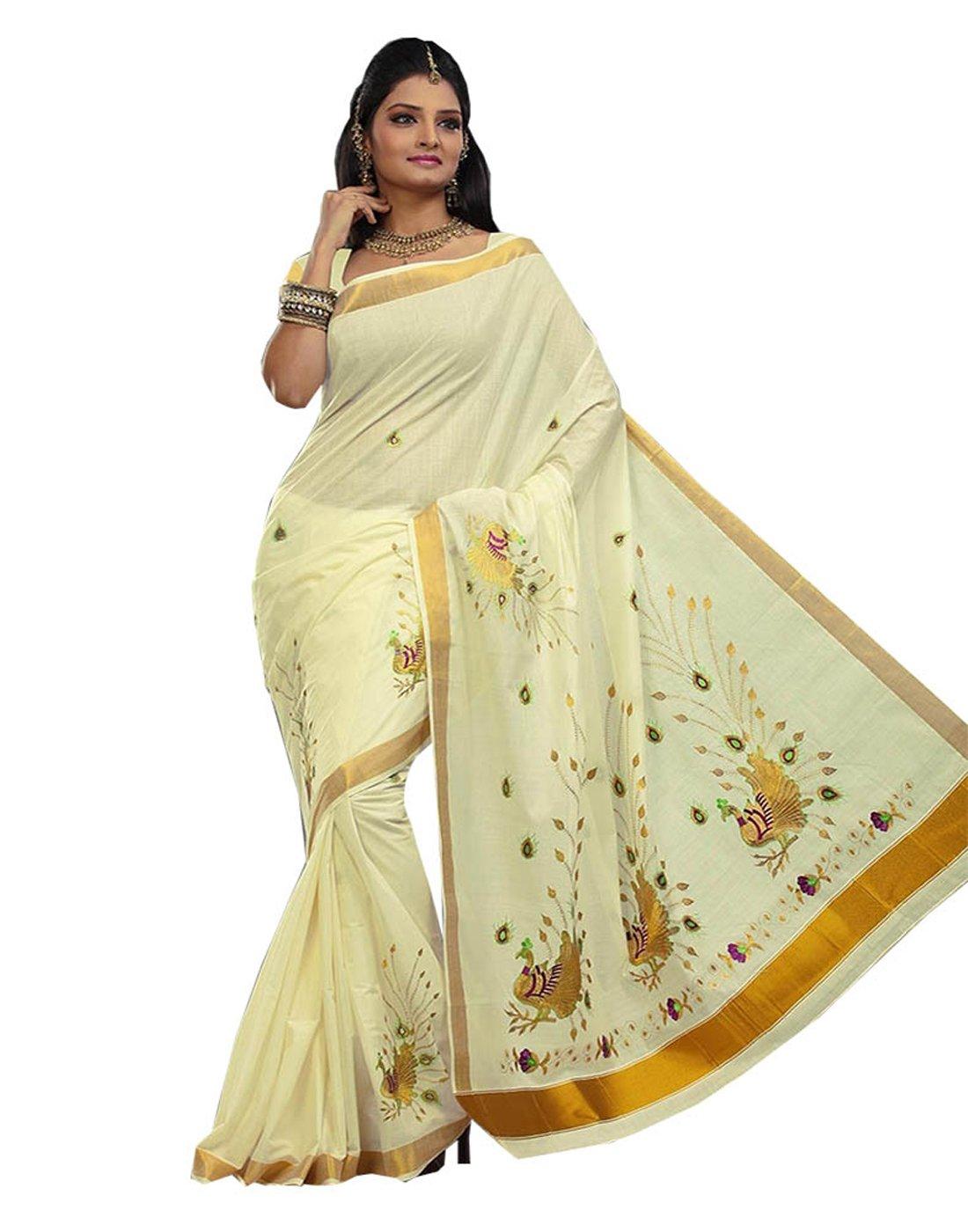 JISB Kerala Kasavu Peacock Embroidered Cotton Saree with running blouse piece
