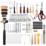 194 Pieces Leather Working Tools, Dorhui Leather Craft Stamping Tools with Cutting Mat Snaps and Rivets Kit, Stitching Groover, Prong Punch, Leather Working Saddle Making Tools for DIY Leather Craft