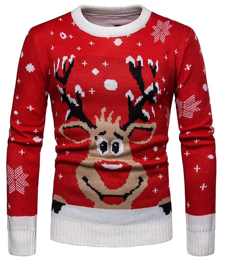 pipigo Mens Casual Long Sleeve Christmas Elk Knitted Pullover Sweater Jumper Top
