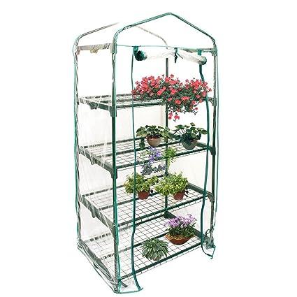 Jardinería Invernaderos 4 Pisos Cubiertas de Invernadero Miniinvernadero Caseta para Plantas Transparente Impermeable de PVC para