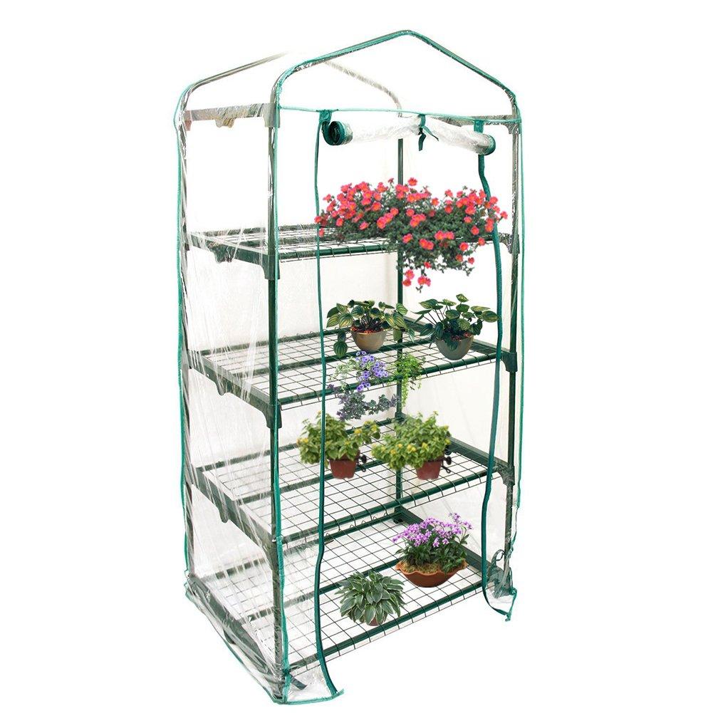 Leiyini PVC Greenhouse Mini Household Plant Greenhouse Cover Portable Garden Greenhouse Cover (Without Iron Stand) (4 Tier)